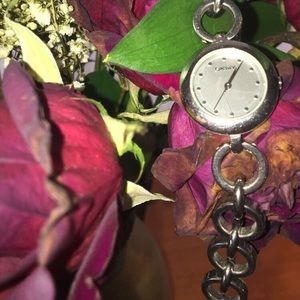 retro DNKY chain watch with mother of pearl face